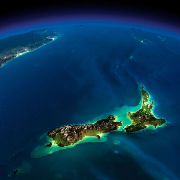 26504345 - highly detailed earth, illuminated by moonlight the glow of cities sheds light on the detailed exaggerated terrain night earth pacific - new zealand